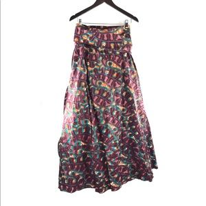 African Ankara Print Flare Maxi Wrap Tie Skirt